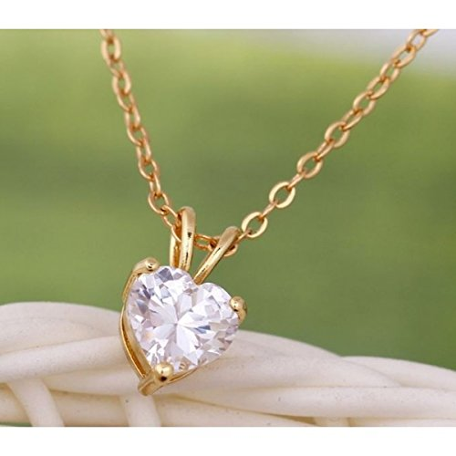 Collier coeur oxyde zirconium plaqué or