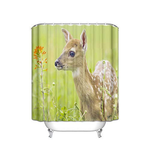 ALDECOR Nature Plant Sika Deer Bathroom Decor with Hooks Resistant Shower Curtain 48