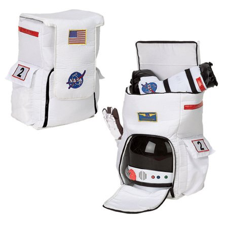 Aeromax Jr. Astronaut Backpack, White, with NASA patches -