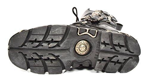 Stivali New Scarpe Cranio Stile Design Gotico in Pelle Nero Retro Rock Fibbia Stringata del 45wrqT4