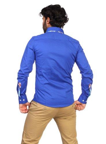 Carisma Herren Hemd langarm slimfit Button-Down Keys blau S