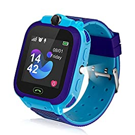 Kids Smart Watch, Kids LBS Tracker Watch Color Touch Screen Smartwatch with Camera Flashlight Smartwatch for Kids, SOS…