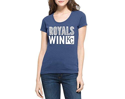 '47 MLB Kansas City Royals Women's Sparkle Scoop Neck Tee, Large, Bleacher ()