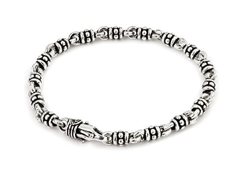 Twisted Blade 925 Sterling Silver Studded Double Link Bracelet 7'' by Princess Kylie