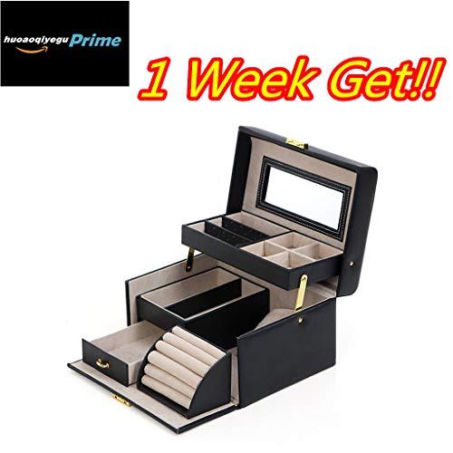 huoaoqiyegu 1 Week Get!! Women Leather Cosmetic Case with Mirror Storage Box Girls Jewelry -