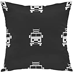 oFloral Pillow Covers Cases Fire Engine Icon Sign Pattern Gray Pillowcase Decorative Square Cushion Cover For Home Decor 16x16 inch