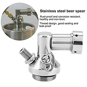 Haga Keg Tap Stainless Steel Mini Keg Tap Dispenser Beer Brewing Spear Quick Fitting Connector For Mini Craft Beer Keg Growler Homebrew Spear
