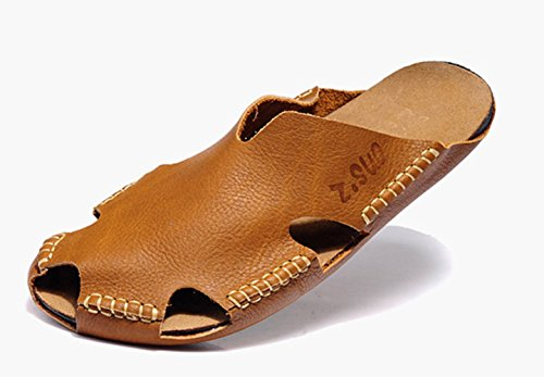 dqq recortado de punto de piel para hombre slip on Sandalia marrón