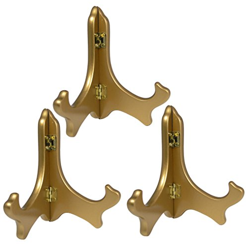 Holder Piece Set 3 - BANBERRY DESIGNS Gold Metallic Wood Easels Premium Quality Display Plate Stand Holder - 5 Inch - Set of 3 Pieces