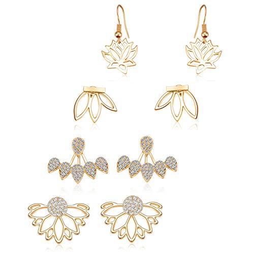 - Zhenhui Lotus Flower Earrings 4 Pairs Crystal Ear Jacket Studs Earrings for Women Girls,Simple Chic Jewelry (4 Pcs Gold)