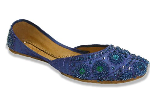 Bollywood Fashion Royal Blue Beaded Flats Belly Dance Shoes Indian Khussa Womens 10