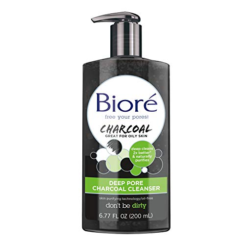 Bioré Deep Pore Charcoal Daily Face Wash, 6.77 Ounce, with Deep Pore Cleansing for Dirt and Makeup Removal From Oily Skin, Bioré Charcoal
