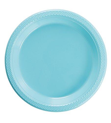 (Exquisite Plastic Dessert/Salad Plates - Solid Color Disposable Plates - 100 Count (10 Inch, Light Blue))