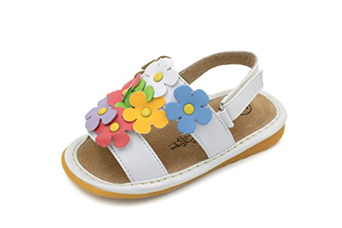(Little Mae's Boutique White with Multi-Color Flowers Girl Squeaky Sandals Shoes (9))