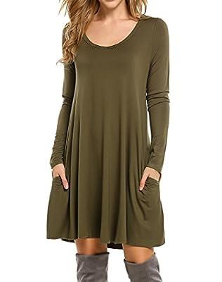 Bluetime Women's Basic Long Sleeve Casual Loose T-Shirt Dress