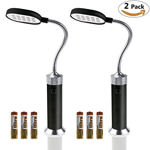 Philonext 2 Pack Barbecue Grill Light Magnetic Base Flexible Goose-neck Weather Resistant Powerful BBQ Light with 15 Ultra-Bright LED Lights for Any Gas/Charcoal/Electric Grill & 6 Pcs AAA Batteries ()