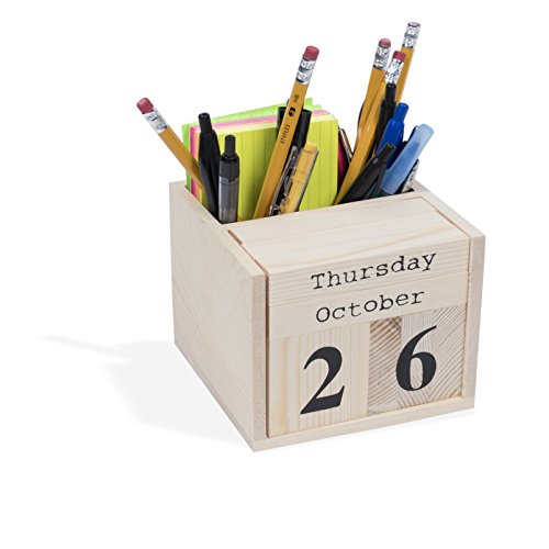 - Office or Home Decorative Cube Desktop Block Calendar Pen Holder Unfinished Wood for DIY Projects Natural