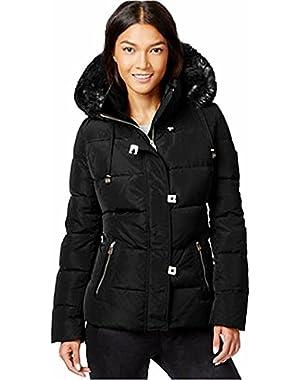 Calvin Klein Faux-Fur-Trim Down Puffer Coat Size XL Black $ 300