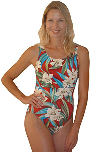 Nursing Swimsuit - Classic (Large, Cyan and red floral)