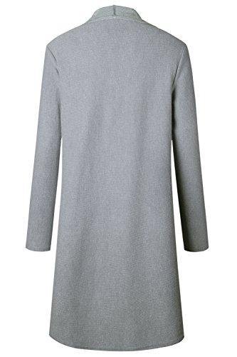 Abrigo Abierto Trenchcoat Frontal Otoño La Ropa Invierno Elegante De Grey Mujer Clásico Solapa Sqw4ZzI