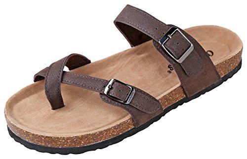 OUTWOODS Women's Bork-30 Vegan Leather Toe-Loop Buckle Flats Sandals, Brown 8 ()