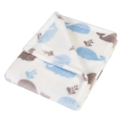Trend Lab Plush Baby Blanket, Blue Whales ()