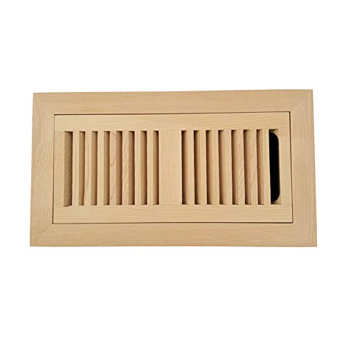 Homewell Maple Wood Floor Register, Flush Mount Vent with Damper, 4x10 inch, Unfinished by Homewell