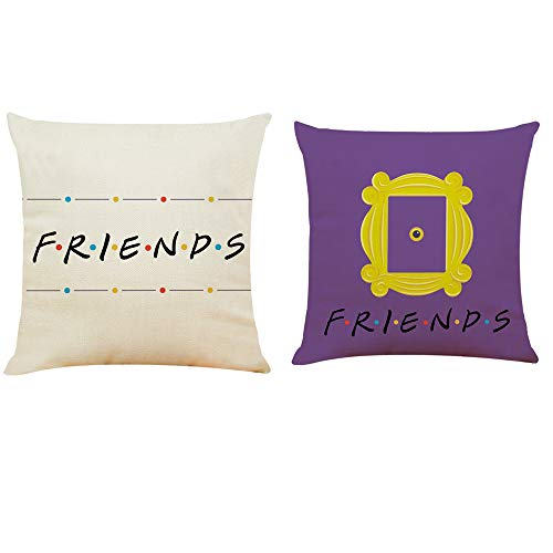 BETHANY STEVENS Peephole Yellow Door Frame Pillow Case Set of 2 1818 inch -Central Perk Coffee-Sofa Cushion Covers