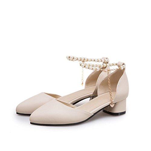 de Zapatos Gran Tamaño Student Low de Mujer Spring Summer Glossy Beige Sandalias AIKAKA zvdqv