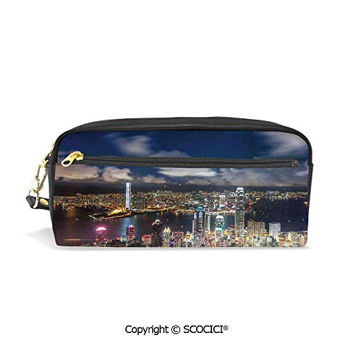 Girls Boys 3D Printed PU Pencil Case Holders Bag with Zipper Night View Hong Kong Victoria Harbor Business Financial District Cityscape Print Stationery Makeup Cosmetic Bags Back to School
