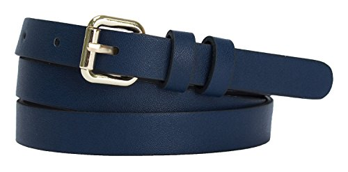 Womens Goldtone Roller Buckle Faux Leather Skinny Belt (L(35.5