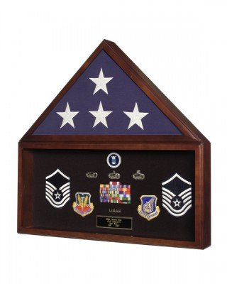 SpartaCraft Military Retirement Shadow Box & Memorial American Flag Case Memorabilia Display Case Made In America.
