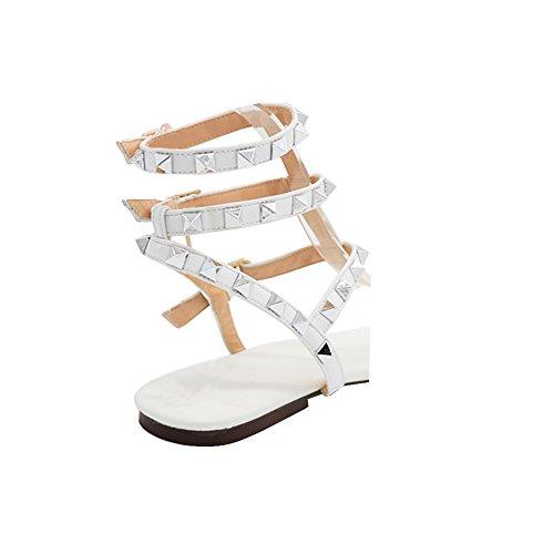 Flache Weiß Sommerkleid MERUMOTE T Gladiator Sandalen Strap Sandalen Damen Rockstud 65vqgU