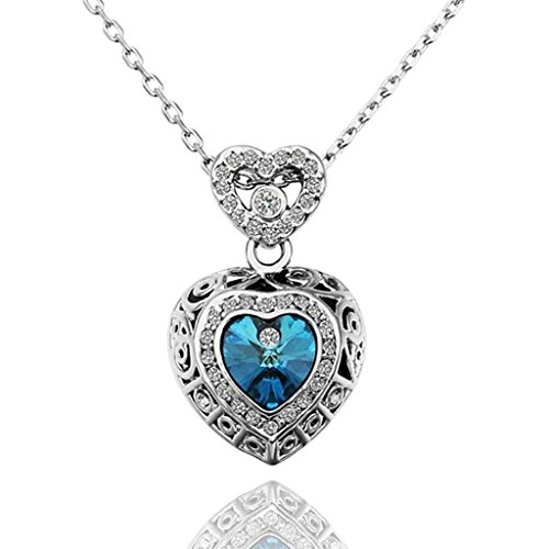 AmDxD Jewelry Gold Plated Women Pendant Necklace Blue Silver Heart Shape,Gift for Girls (T-bar Drop Ceiling Connector)