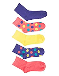 Mountain Warehouse Spot Girls Cotton Socks - Pack of 5 Coral 2-5