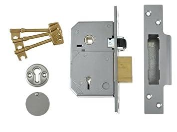 Union Locks 3K74E 5-Lever Mortice Rollerbolt Sash Lock C-Series 67mm Case - Brass UNNV3K74PL67