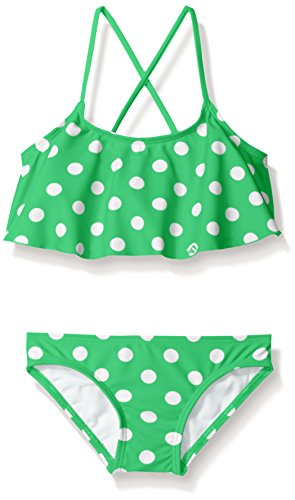 Kanu Surf Big Girls' Karlie Flounce Bikini Beach Sport 2-Piece Swimsuit, Suzie Green Dot, 14 ()