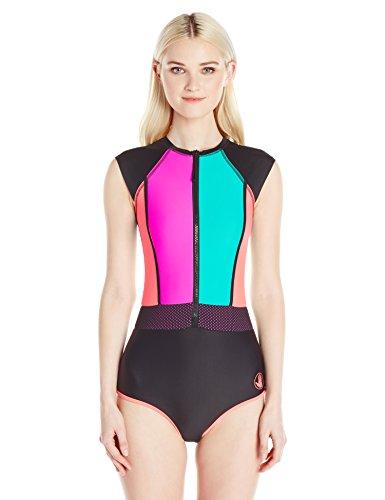 Body-Glove-Womens-Borderline-Colorblock-Zip-One-Piece-Swimsuit