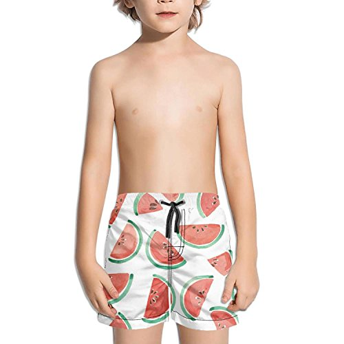 Lenard Hughes Boys Quick Dry Beach Shorts with Pockets Watercolor Watermelon Slices Swim Trunks for Summer by Lenard Hughes (Image #3)