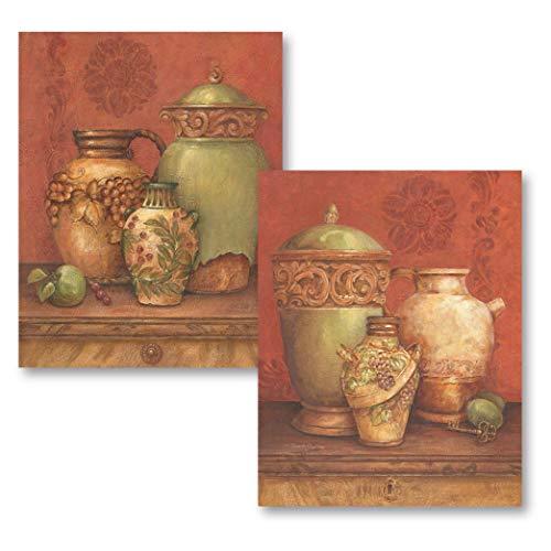Gango Home Decor Tuscan Urns I Vintage, Greek Urns and Vases; Two 8x10 Poster Prints - Vase Key Greek