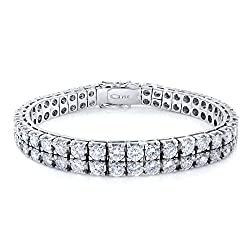 White Gold Two Row Diamond Tennis Bracelet