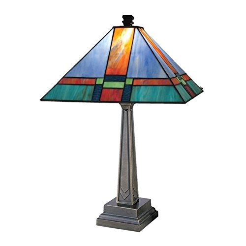Dale Tiffany TT11047 Tranquility Mission Table Lamp, Antique Brass