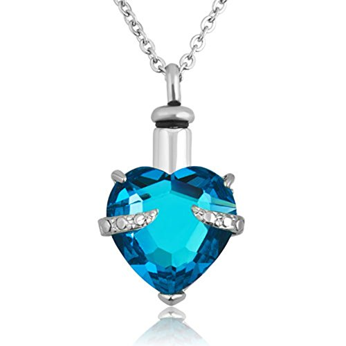 - Moonlight Collections Aqua Faceted Heart Cut Cremation Urn Necklace Keepsake Locket (Pick Your Color)