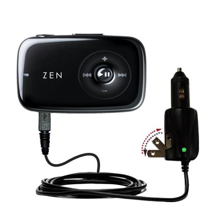 Advanced Gomadic 2 in 1 Auto / Car DC Charger Compatible with Creative Zen Stone with Foldable Wall AC Charging plug - Amazing design built with TipExchange Technology ()