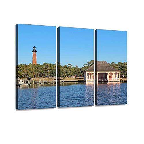- The Currituck Beach Lighthouse and Boathouse Near Corolla, North Print On Canvas Wall Artwork Modern Photography Home Decor Unique Pattern Stretched and Framed 3 Piece