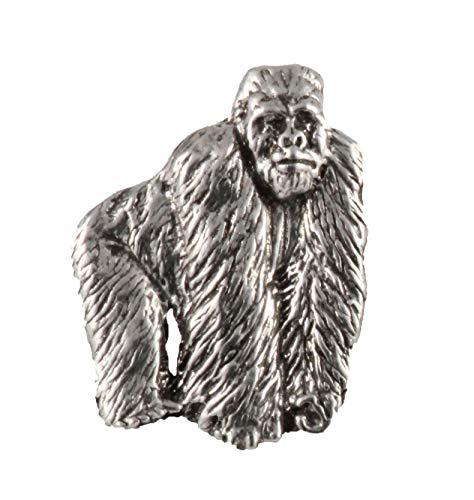 Silverback Gorilla Ape Full Body Mammal Pewter Lapel Pin, Brooch, Jewelry, M096F -