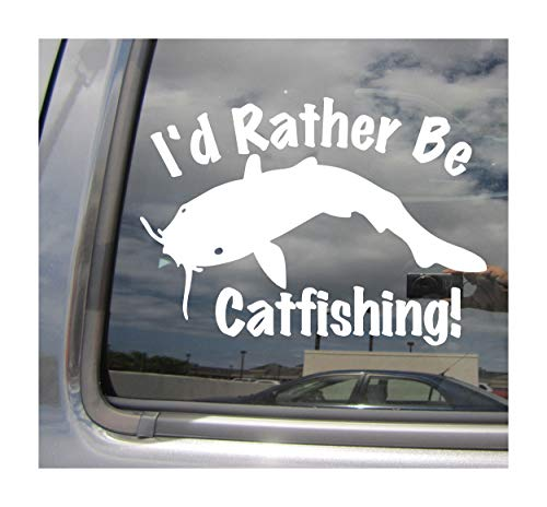 Right Now Decals I'd Rather Be Catfishing - Catfish Fishing - Cars Trucks Moped Helmet Hard Hat Auto Automotive Craft Laptop Vinyl Decal Store Window Wall 04050