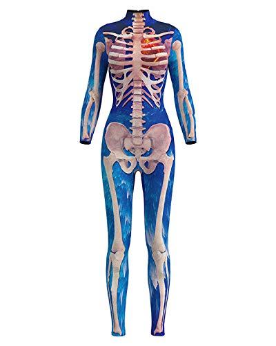 F Style Women's Halloween Jumpsuit 3D Printed Bone Blue Party Skeleton Catsuit ()