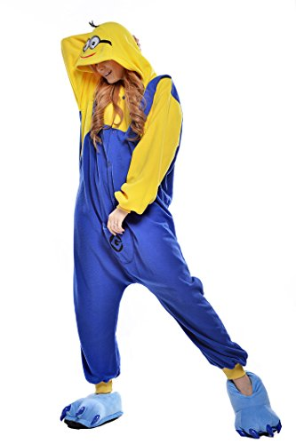 Adult Minion Halloween Costume (NEWCOSPLAY Adult Minions Unisex Pyjamas Halloween Onesie Costume (M,)
