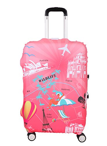 Myosotis510 Travel Around the World Luggage Protector Suitcase Cover